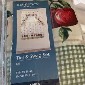 2  pair kitchen curtains tier and swag set